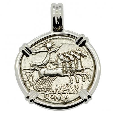 SOLD Sol Chariot and Roma Denarius Pendant; Please Explore Our Roman Pendants For Similar Items.