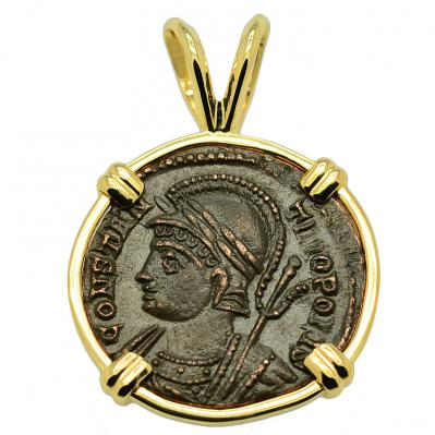 SOLD Constantinopolis and Victory Nummus Pendant. Please Explore Our Roman Pendants For Similar Items.