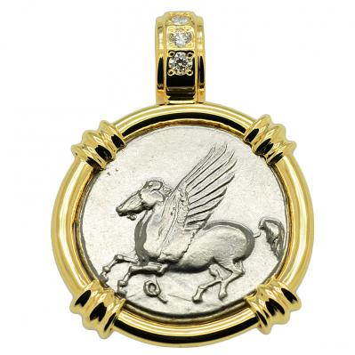 SOLD Pegasus and Athena Stater Pendant; Please Explore Our Greek Pendants For Similar Items.