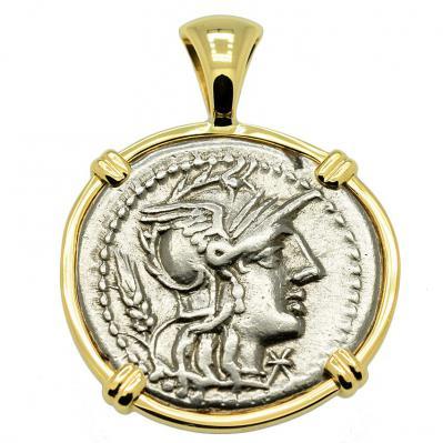 SOLD Roma and Victory Denarius Pendant. Please Explore Our Roman Pendants For Similar Items.
