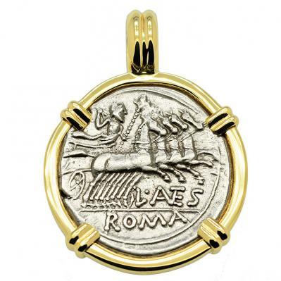 SOLD Jupiter Chariot and Roma Denarius Pendant. Please Explore Our Roman Pendants For Similar Items.