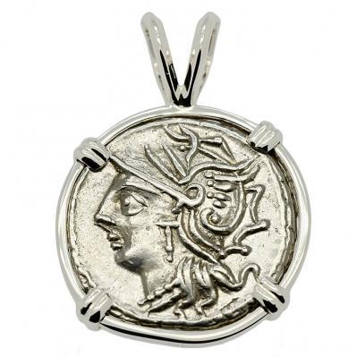 Roman Republic 104 BC, Roma and Saturn Chariot denarius in 14k white gold pendant.