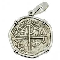 SOLD King Philip II Spanish 2 Reales Pendant; Please Explore Our Spanish Treasure Pendants For Similar Items.