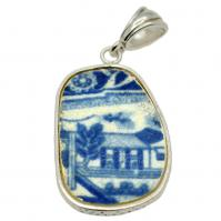 British Pottery Artifact in silver pendant, (1800 - 1820) Eastern Caribbean Sea Shipwreck.