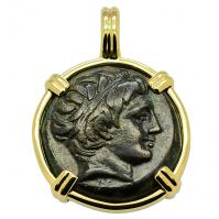 Greek 359-336 BC, King Philip II Apollo and Horseman bronze coin in 14k gold pendant.