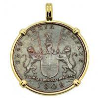 British 10 cash dated 1808 in 14k gold pendant, 1809 British East Indiaman Shipwreck.