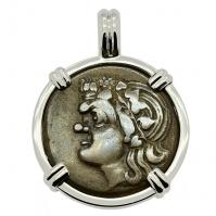 Greek 310 - 304 BC, Pan and Lion bronze coin in 14k white gold pendant.