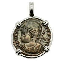 Roman Empire AD 332-333, Constantinopolis and Victory nummus in 14k white gold pendant.