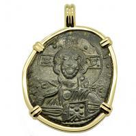 Byzantine 1028–1034, bronze follis in 14k gold pendant.