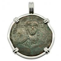 Byzantine 976-1025, bronze follis in 14k white gold pendant.
