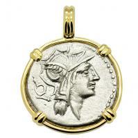 Roman Republic 91 BC, Roma and Victory Chariot denarius in 14k gold pendant.