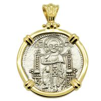Venice 1329-1339, Jesus Christ & Saint Mark grosso in 14k gold pendant.