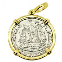SOLD Dutch 6 Stuivers Pendant; Please Explore Our Colonial European Pendants For Similar Items.