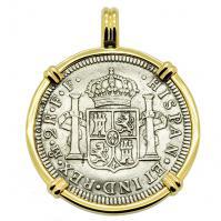 SOLD El Cazador Shipwreck 2 Reales Pendant. Please Explore Our Spanish Treasure Pendants For Similar Items.