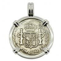 Spanish 1 real dated 1783 in 14k white gold pendant, The 1784 Shipwreck that Changed America.