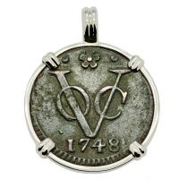 Dutch East Indies Company VOC duit dated 1748 in 14k white gold pendant.