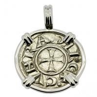 Italian 1139-1252, Crusader Cross denaro in 14k white gold pendant.