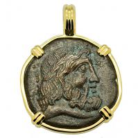 Greek 60-33 BC, Zeus and Temple bronze coin in 14k gold pendant.