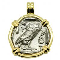 SOLD Owl and Athena Tetradrachm Pendant. Please Explore Our Greek Pendants For Similar Items.