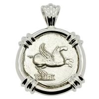 Roman Republic 90 BC, Pegasus and Bacchus denarius in 14k white gold pendant.