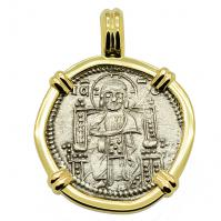 Venice 1339-1342, Jesus Christ & Saint Mark grosso in 14k gold pendant.