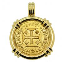 Portuguese 1000 Reis dated 1715, with cross and crown in 14k gold pendant.