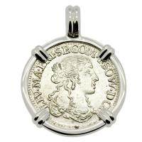 Italian Luigino dated 1666 in 14k white gold pendant, 1667 merchantman shipwreck Gela Sicily.