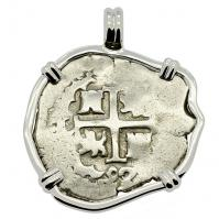 Colonial Spanish Peru, King Charles II two reales dated 1692, in 14k white gold pendant.