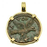 Roman Empire AD 250-268, Eagle and Tyche coin in 14k gold pendant.