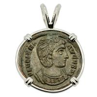 Roman Empire AD 327–329, Saint Helena follis in 14k white gold pendant.