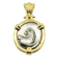 Greek 386-338 BC, lion hemidrachm in 14k gold pendant.