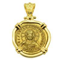 Byzantine 1042-1055, Jesus Christ and Constantine IX Tetarteron in 18k gold pendant.