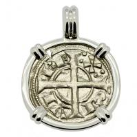 Barcelona, Spain 1164-1196, King Alfonso II Dinero in 14k white gold pendant.