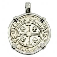 Cyprus 1324-1340, Gros Grand Crusader coin in 14k white gold pendant.
