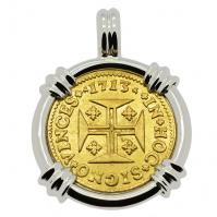 Portuguese 1000 Reis dated 1713, with cross and crown in 14k white gold pendant.