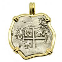 Colonial Spanish Peru, King Charles II two reales dated 1672, in 14k gold pendant.