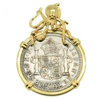 SOLD El Cazador Shipwreck 2 Reales Pendant (Please Explore Our Spanish Treasure Pendants For Similar Items)