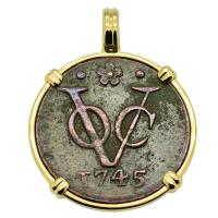 Dutch East Indies Company VOC duit dated 1745 in 14k gold pendant.