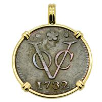 Dutch East Indies Company VOC duit dated 1732 in 14k gold pendant.