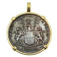 British 10 cash dated 1808 in 14k gold pendant, 1809 British East Indiaman Shipwreck.