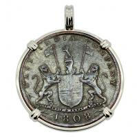 British 10 cash dated 1808 in 14k white gold pendant, 1809 British East Indiaman Shipwreck.