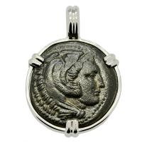 Greek 324-323 BC, Alexander the Great bronze coin in 14k white gold Pendant.