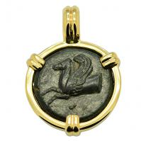 Greek Syracuse 344-317 BC, Pegasus and Persephone bronze hemilitron coin in 14k gold pendant.