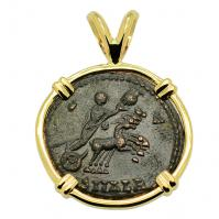 Roman Alexandria AD 337-340, Constantine the Great follis in 14k gold pendant.