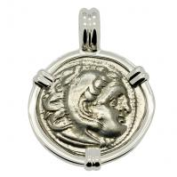 Greek 328-320 BC, Alexander the Great drachm in 14k white gold pendant.