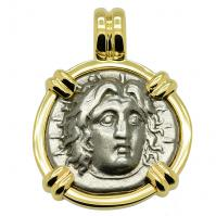 Greek 260-250 BC, Sun God Helios and rose didrachm in 14k gold pendant.
