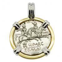 SOLD Dioscuri and Roma Denarius Pendant. Please Explore Our Roman Pendants For Similar Items.
