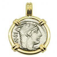 SOLD Juno and Bull Denarius Pendant. Please Explore Our Roman Pendants For Similar Items.