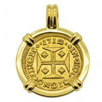 Portuguese 1000 Reis dated 1712, with cross and crown in 18k gold pendant.