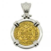 Portuguese 400 Reis dated 1742, with cross and crown in 14k white gold pendant.